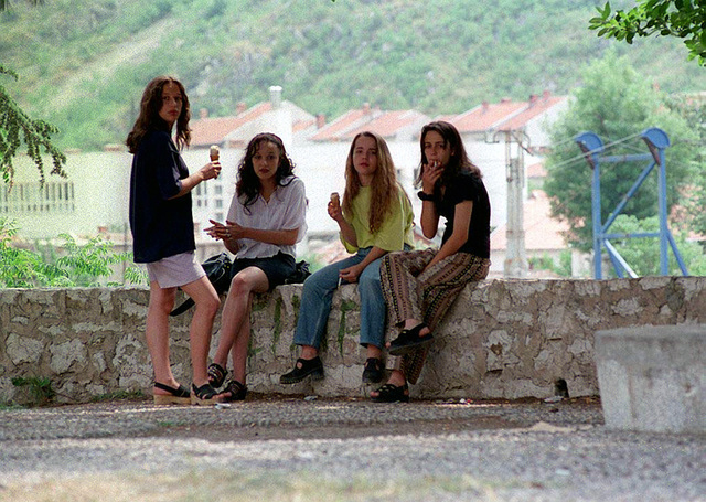 With the cease-fire in the town of Mostar, teenage girls can openly spend an afternoon in a park to chat, share some ice cream cones, or to smoke a cigarette. Children have half day school sessions since there is a shortage of school buildings due to the recent civil war. In accordance with the Dayton Accords, under which Operation JOINT ENDEAVOR (the multi-national peace mission in Bosnia) functions, the provision of a secure environment is at the heart of the reconstruction effort in Bosnia