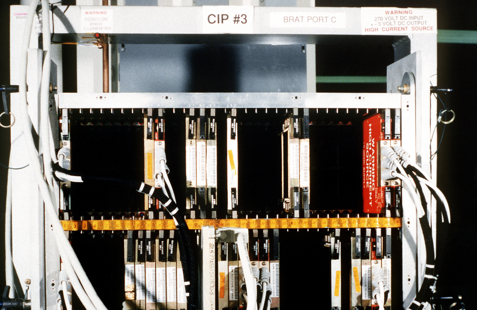 A close-up view of the Common Integrated Processor which was developed for the F-22 jet fighter and is the equivalent of two Cray supercomputers. The CIP is a little larger than a 20-in television. It is the world's most advanced, high-speed computer system for use on board a fighter aircraft