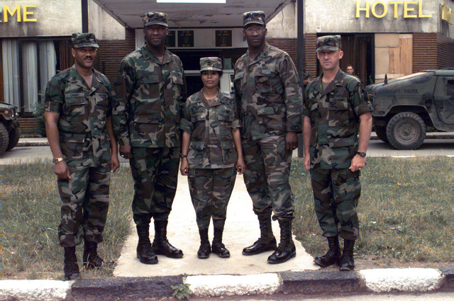 5th Signal Command Group (left to right), Command Sergeant Major Ernest Chaney; Sergeant Major of the Army, Gene McKinney; Sergeant First Class Elvira Richardson; U.S. Army Europe Command Sergeant Major, James McKinney (twin brother to Gene McKinney); and 7th Signal Brigade, Command Sergeant Major, Charles Spence at the Allied Command Europe Rapid Reaction Corps Headquarters in the Sarajevo suburb of Ilidza