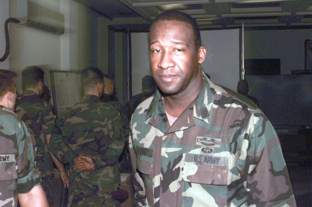 An up-close shot of the Sergeant Major of the Army, Gene McKinney, after he has answered questions from soldiers stationed in the area