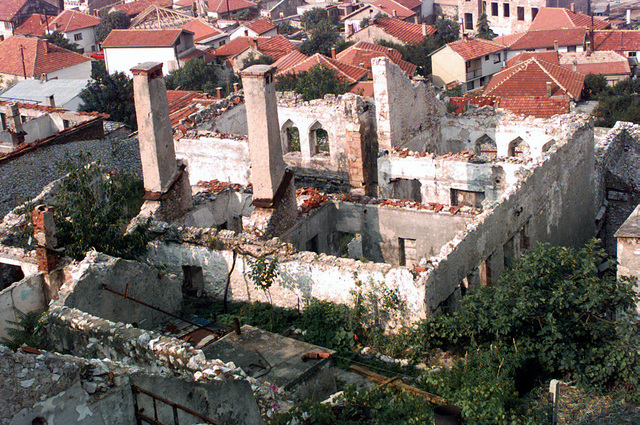 Aerial view of Mostar, Bosnia, depicting the condition of the town after the 3 1/2 year war. Local schools, churches and industrial sites were destroyed. In accordance with the Dayton Accords, under which Operation JOINT ENDEAVOR (the multi-national peace mission in Bosnia) functions, the provision of a secure environment is at the heart of the reconstruction effort in Bosnia