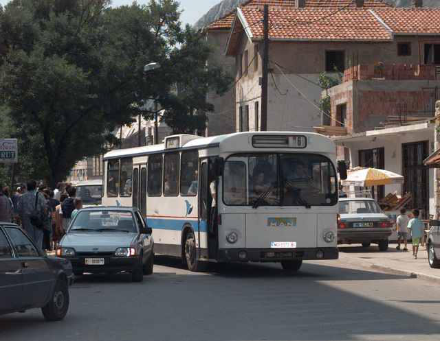 One of the many public buses that were used on the day of the Mostar general elections to ferry displaced voters to and from the polling locations where they were registered to vote