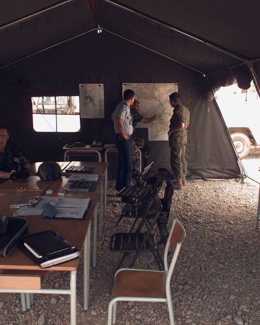 The crisis management operations center tent set up specifically for the Mostar general elections