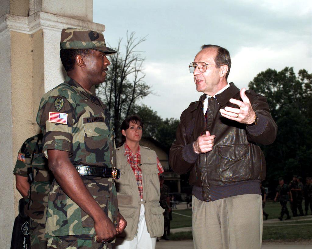 Newly promoted BGEN Voneree Deloatch (right), commanding