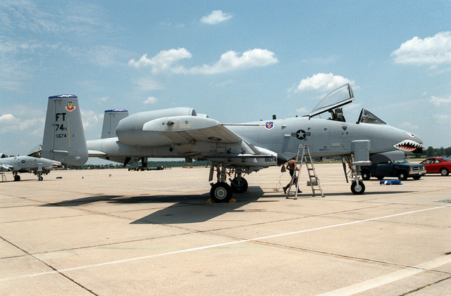 "The 74th Fighter Squadron's ""new"" A-10 Thunderbolt II (Wart Hog) aircraft are parked on the tarmac. The 74th had previously operated the A-10 aircraft from 1980 to 1992 at England AFB, La. This A-10, tail no. 78-0674, is the 74th lead ship and will be flown by Lieutenant COL. Tim Vigil, the new 74th squadron commander"