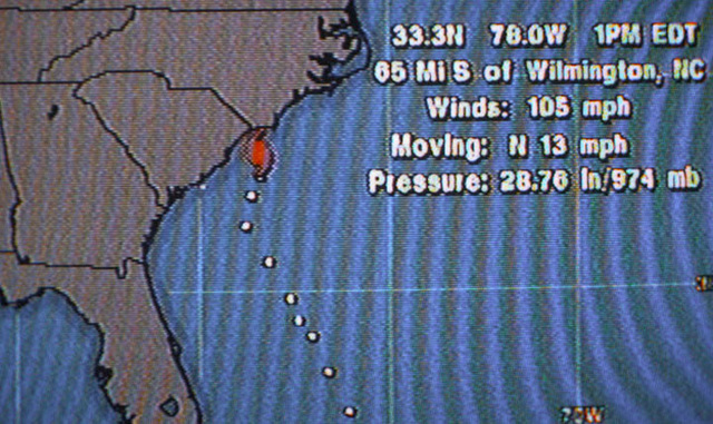 Television imagery from the National Weather Service via the Weather Channel shows information on the current location of Hurricane Bertha as it nears the coast of South Carolina. SCREEN RESOLUTION ONLY
