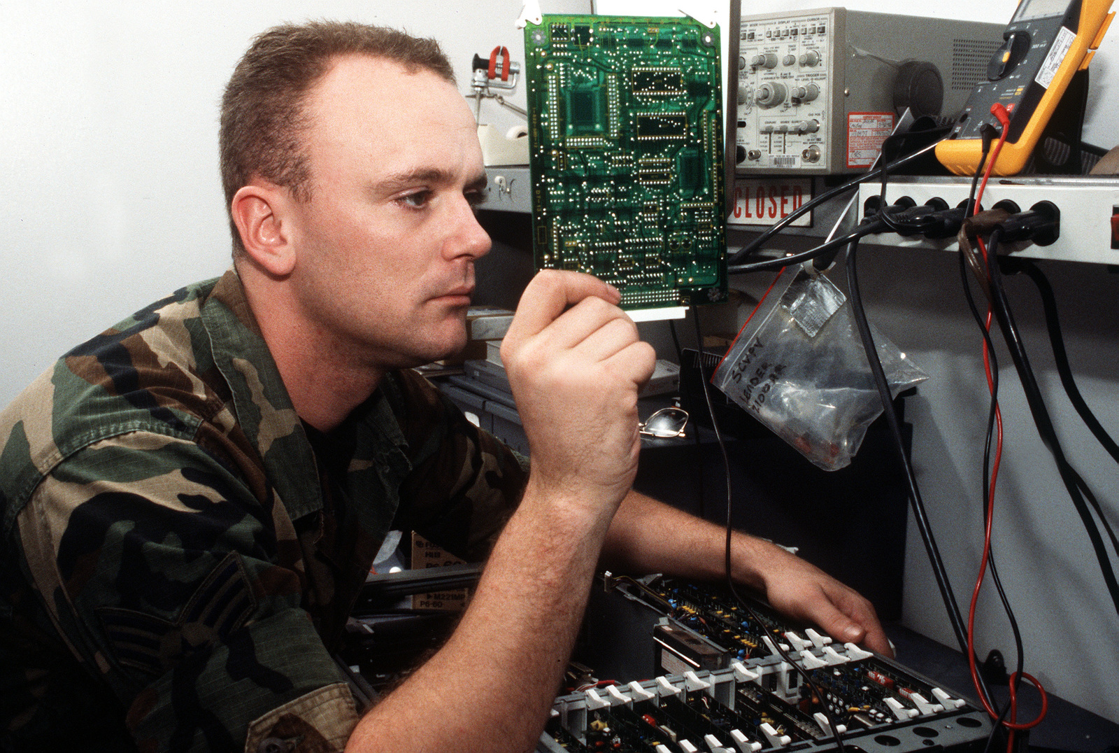 Sergeant Jorest Jacks, 61st Communications Squadron, 61st Air Base Group, repairs one of the recorders assigned to the unit at Los Angeles Air Force Base, California