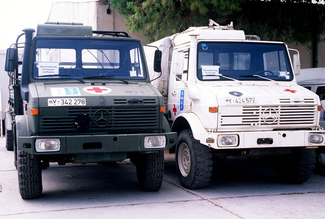A sample of the trucks used by the personnel assigned to the German-French Mash Unit at a temporary naval base located in Troger (Trogir), Croatia, during Operation JOINT ENDEAVOR
