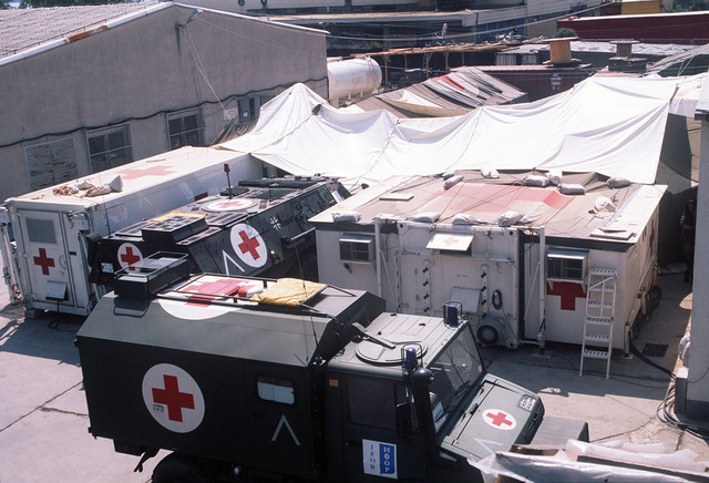 Overhead view of the German-French Mash Unit at a temporary naval base located in Troger (Trogir), Croatia, during Operation JOINT ENDEAVOR