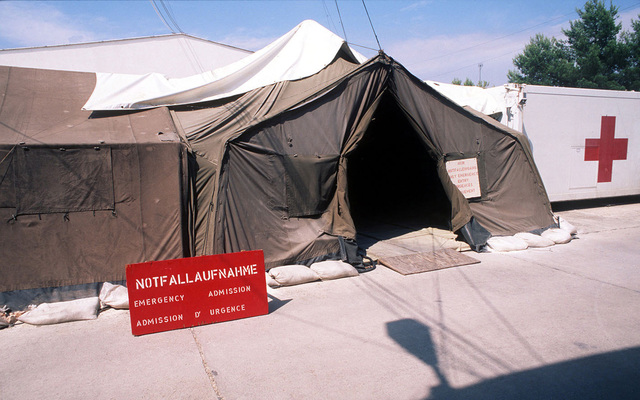 Shot of the entrance to the emergency room of the German-French Mash Unit at a temporary naval base located in Troger (Trogir), Croatia, during Operation JOINT ENDEAVOR