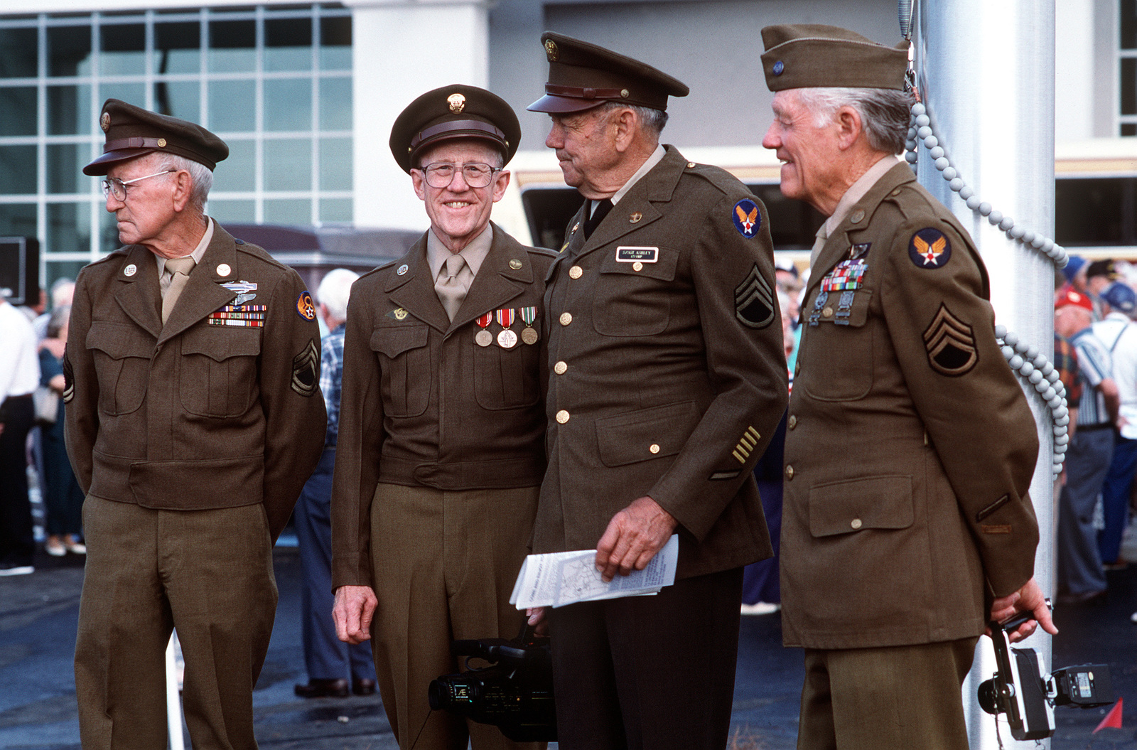 Four former 8th Air Force members (from left) Bill Wagner, Earl Krieger, Edward Ashley, and Wilbur Richardson participate in grand opening ceremonies at the Mighty Eighth Air Force Heritage Museum. Exact Date Shot Unknown Published in AIRMAN Magazine August 1996