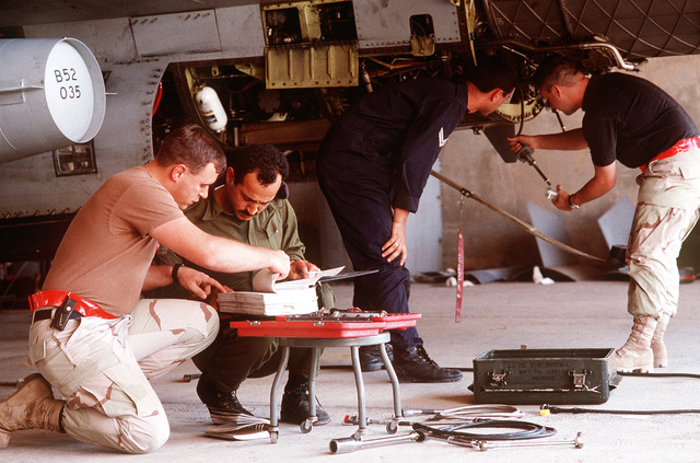 STAFF SGT. Wes Kilder, an F-16 crew chief from the 389th Fighter Squadron, Mountain Home AFB, Idaho, goes through a technical manual with Royal Jordanian Air Force SGT. Nadeer Ahmen Sleeman during phase maintenance of an F-16 Falcon. Exact Date Shot Unknown Published in AIRMAN Magazine