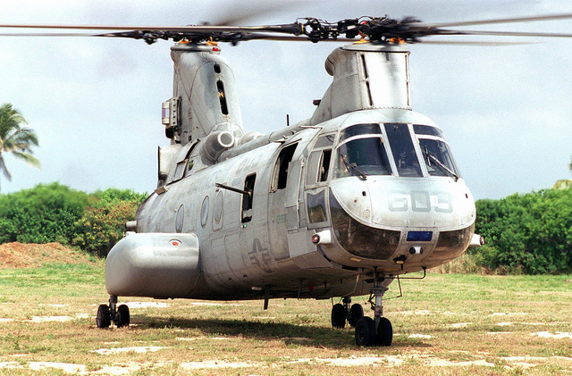 A US Marine Corps CH-46 Sea Knight helicopter from Marine Medium Helicopter Squadron 166 (HMM-166) prepares to lift-off at Kaneohe Bay Marine Corps Station, HI. Marines from the 11th Marine Expeditionary Unit (MEU) Camp Pendleton, CA conducted simulated Noncombatant Evacuation exercises during Operation RIMPAC 96