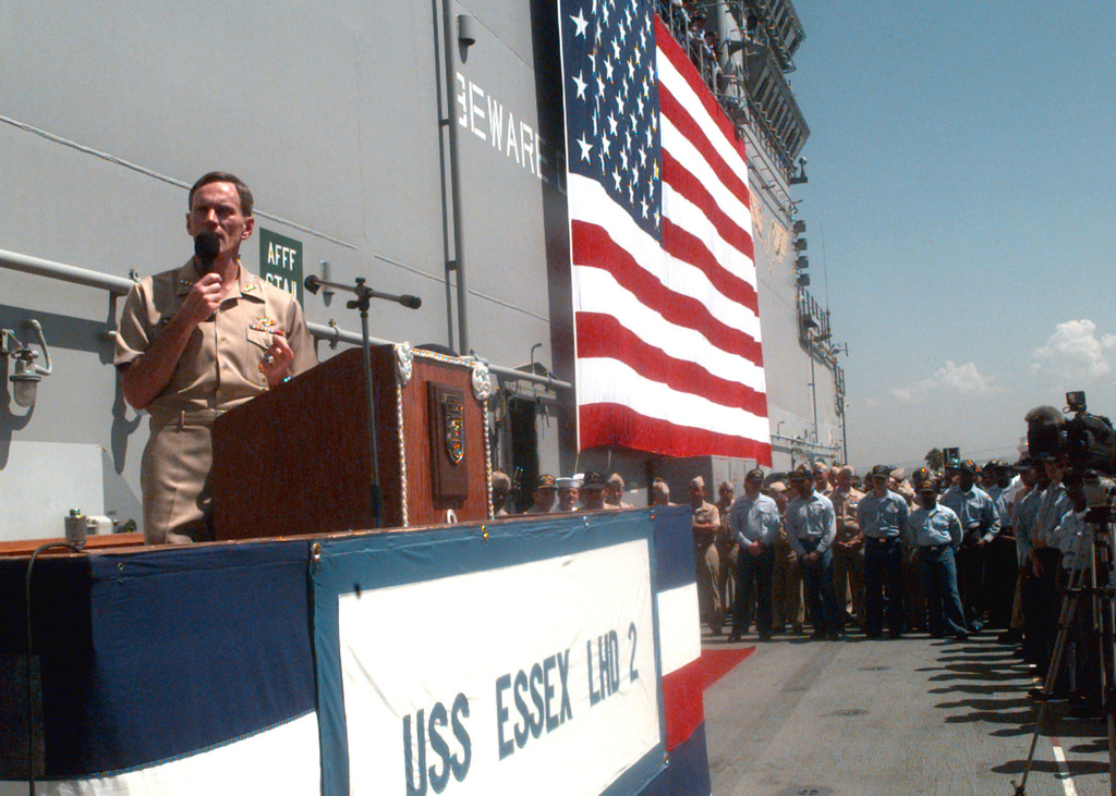 CHIEF of Naval Operations, US Navy Admiral Jay L. Johnson, visits with San Diego Sailors on board the US Navys Amphibious assault ship USS ESSEX (LHD 2), during a recent visit to Naval Station San Diego. The CNO answered questions from Sailors ranging from the new enlisted evaluation system to pay issues regarding Basic Allowances for Quarters (BAQ) for the shipboard single 2nd class PETTY Officer