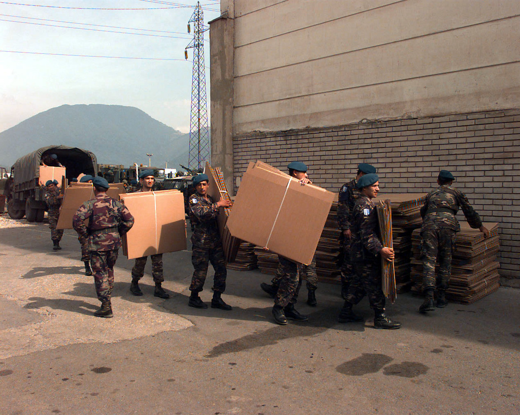 Turkish Army soldiers offload OSCE (Organization for
