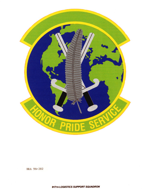 Air Force Organizational Emblem: 917th Logistics Support Squadron, Air Force Reserve (AFRES ) Exact Date Shot Unknown