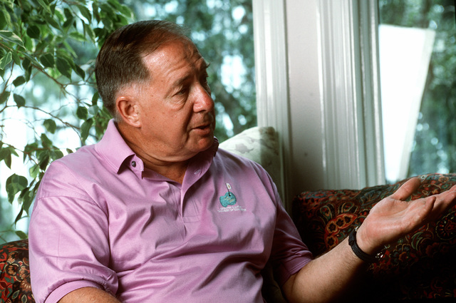 GEN. Charles A. Horner (retired) talks during an informal interview. He is the former commander of Air Force Space Command and a veteran of Desert Storm. GEN. Horner said that, with the improved technology, and with the emphasis on well-trained competent individuals, instead of the reliance on numbers, the USAF would be in good shape going into the next century. Exact Date Shot Unknown Published in AIRMAN Magazine September 1996