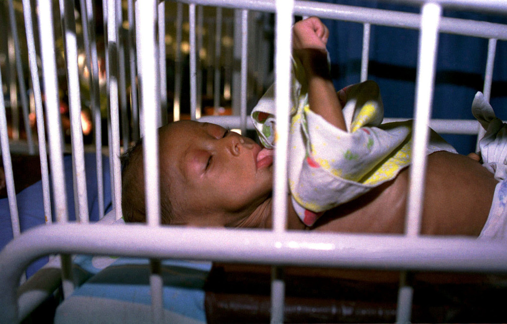 A Haitian child in the nursery at Vaudrveil Hospital in Croix-des-Bouquets outside of Port-au Prince, Haiti, during the humanitarian relief operation, Exercise FAIRWINDS '96