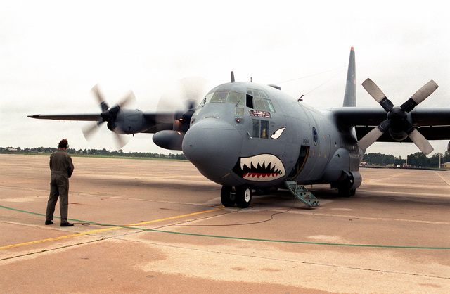 The last plane out, C-130E 68-10934 of the 2nd AS/23rd Wing, cranks engines to evacuate the base before Hurricane Fran. C-130s of the 2nd and 41st AS deployed to Little Rock AFB, AR, and Grissom AFB, IN. 10 hours later wind gusts in excess of 100 mph were screaming across the ramp