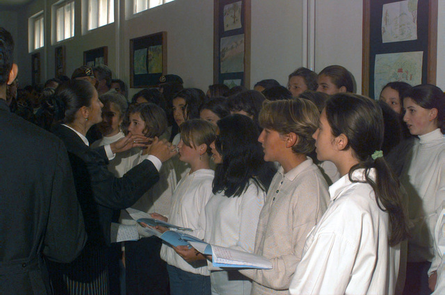 The Radojka Lakic Primary School choir sings at the reopening of the school in Novo Sarajevo, Republika Srpska, during Operation JOINT ENDEAVOR (the multi-national peace mission in Bosnia)