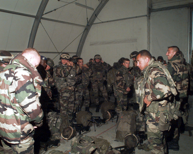 French soldiers of 1ST Company, 6th Battalion, Mostar, Bosnia-Herzegovina, prepares for an inspection the day before general elections