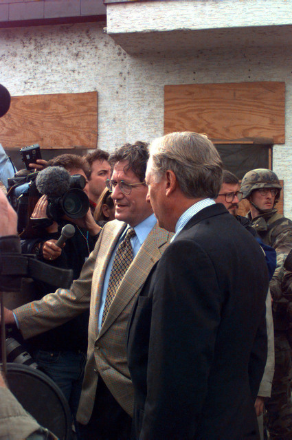 Congressman Steny Hoyer (D), Maryland (left), and United States Mediator and Architect of the Dayton Peace Agreement, Richard Holbrooke talk to the local media on how the Elections are proceeding in the town of Brcko, Bosnia-Herzegovina