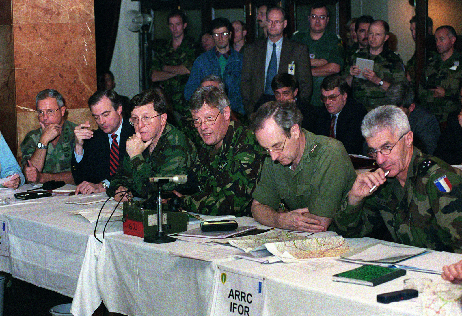(left to right) Mr. Richard Sklar, Lieutenant General Bill Carter, Implementation Forces CHIEF of STAFF, Mr. Jock Covey, Office of the High Representative (Bosnia and Herzegovina) CHIEF of STAFF, locate a city being discussed by US Navy Admiral T. Joseph Lopez, Allied Forces Southern Europe, United States Naval Forces Europe and Implementation Forces Commander, UK Army Lieutenant General Sir Michael Walker, Allied Rapid Reaction Corps Commander, UK Army Major General Tim Sulivan, Allied Rapid Reaction Corps, CHIEF of STAFF and French Army Lieutenant General Jean Heinrich, Deputy Commander Implementation Force. Many organizations comprise the Joint (JOEC) at the Allied Rapid Reaction Corps...