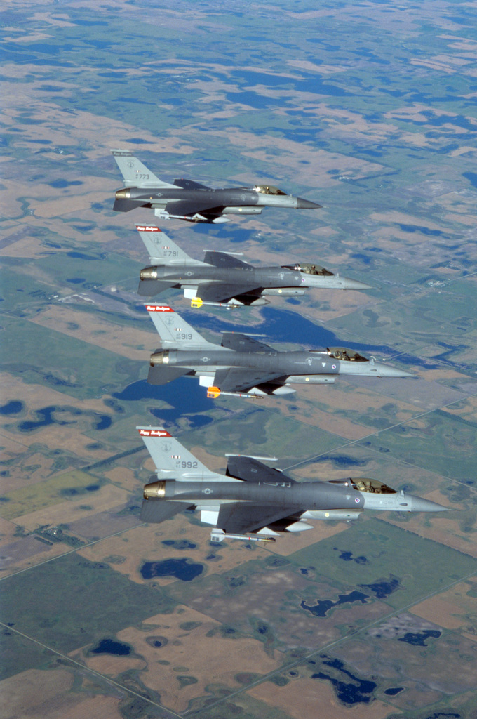 U.S. Air Force F-16C Fighting Falcon aircraft assigned to the 119th Fighter Wing, North Dakota Air National Guard, flying over the International Peace Gardens on the border of North Dakota and Canada, taken Sep. 14, 1996. (A3604)  (U.S. Air Force PHOTO by TECH. SGT. David H. Lipp, 119th Communications Flight) (Released)