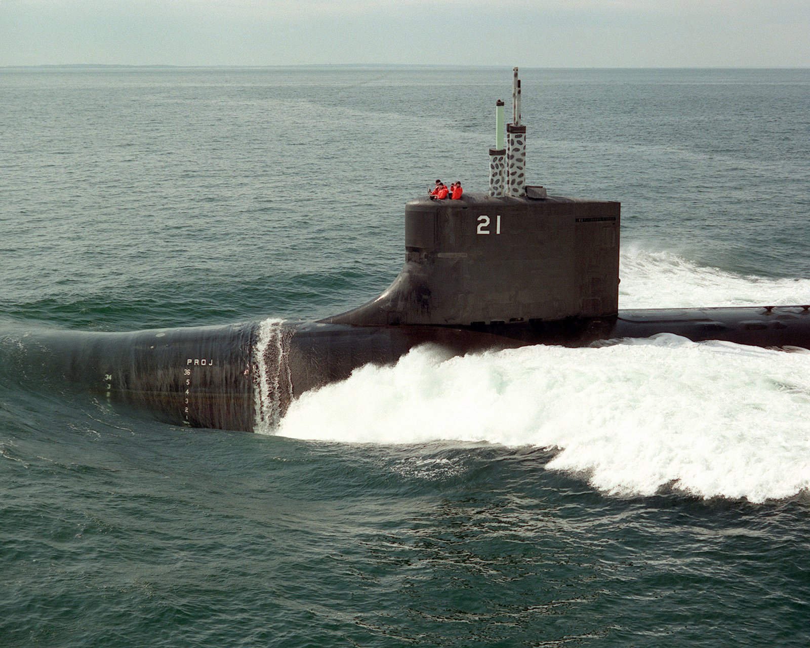 The U S  Navys newest attack submarine, USS SEAWOLF (SSN 21