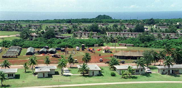 Aerial shot of Andersen Air Force Base, Guam, which is serving as temporary lodging for Kurdish evacuees (not shown) from northern Iraq during Operation PACIFIC HAVEN. The operation, a joint humanitarian effort conducted by the US military, entails the evacuation of approximately 2,400 Kurds from northern Iraq to avoid retaliation from Iraq for working with the US government and international humanitarian agencies. The Kurds will be housed at Andersen AFB, while they go through the immigration process for residence in the United States