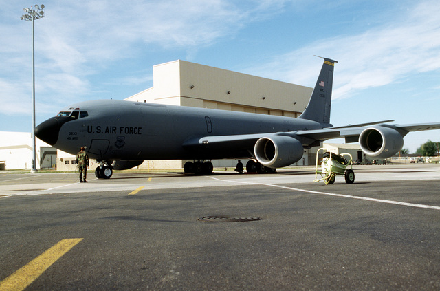 """With its """"43 ARG"""" and """"Malmstrom AFB"""" markings still displayed, aircraft 23533, the last of Malmstrom's KC-135R Stratotankers, prepares to depart for its new assignment at MacDill AFB, Florida. With the transferring of Malmstrom's twelve tankers to MacDill, and the subsequent inactivation of the 43rd Air Refueling Group, all fixed wing flight operations will halt 31 Dec 1996"""