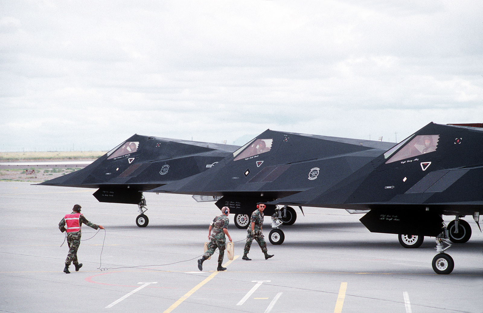 Ground crews prepare to launch F-117 Stealth Fighters from Holloman Air Force Base, N.M. at the direction of the Secretary of Defense, William Perry, in response to an Iraqi missile attack against two F-16s flying over the northern no-fly zone. The destination for the 49th Fighter Wing F-117 Nighthawks is Kuwait.Published in AIRMAN Magazine November 1996. Exact Date Shot Unknown