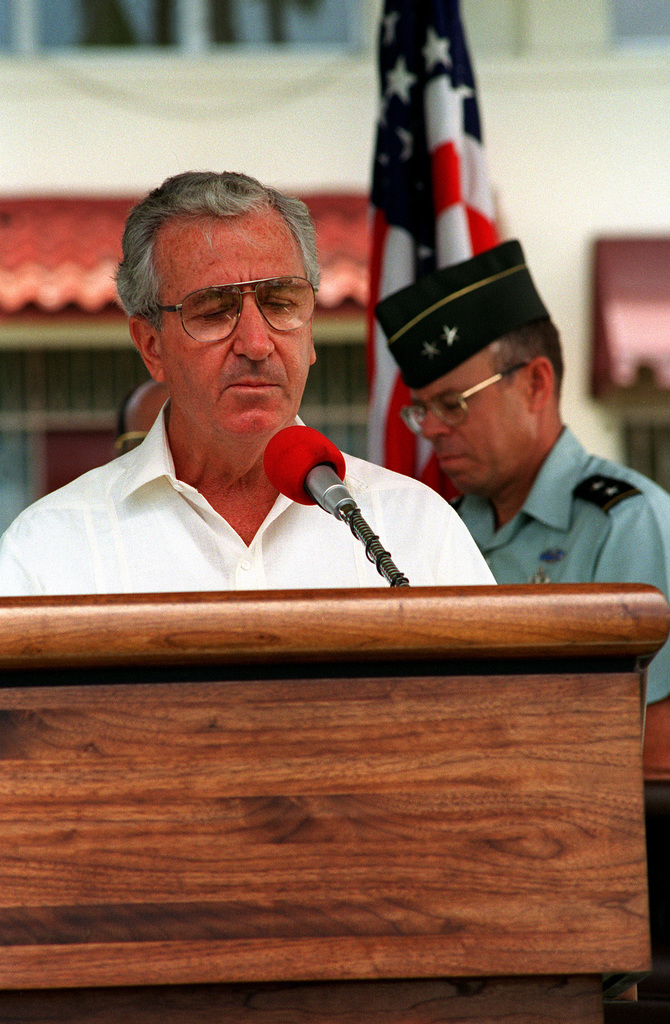 Mr. William J. Hughes, United States Ambassador to Panama gives remarks during the Fort Amador Transfer Ceremony