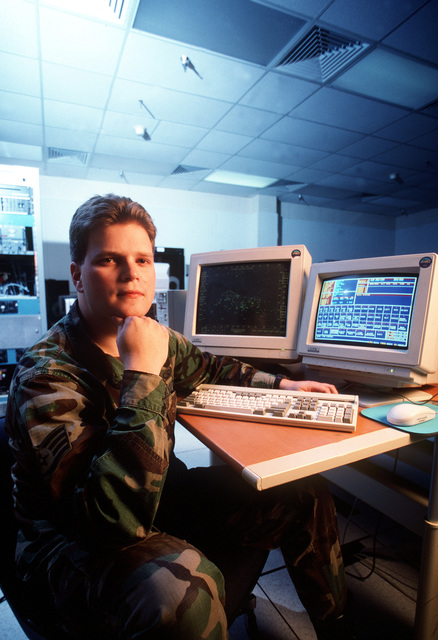 With a personal computer and assorted software, STAFF SGT. Bill Snider, a computer programmer with the 552nd Computer Systems Squadron, can have parked E-3 Sentry Airborne Warning and Control Systems (AWACS) aircrews believing they are flying without ever leaving the flightline. Published in AIRMAN Magazine October 1996