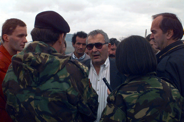 Milo Marceta, leader of the Freedom talks with British Army (United Kingdom) Brigader General Plumer, 1ST Mechanized Brigade Commander, about getting several buses of Bosnian-Serbs into the town of Tito Drvar, Bosnia-Herzegovina