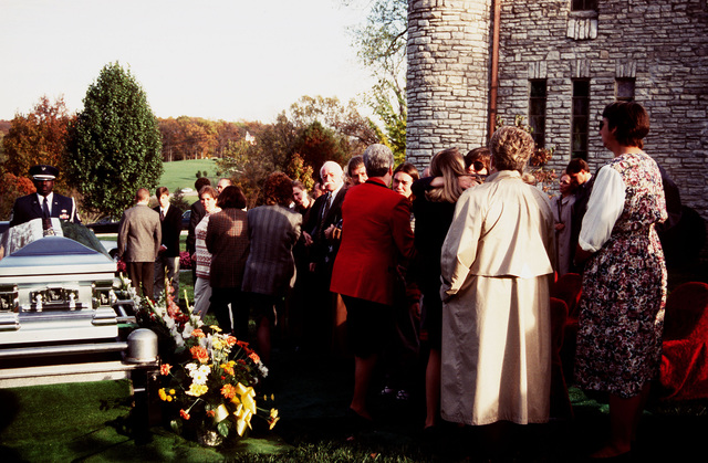 """View of the cemetery during funeral services for CHIEF MASTER SGT. of the Air Force (RET), Arthur """"Bud"""" Andrews. CMSGT. Andrews passed away on 26 Oct 1996 in Marietta, GA., after complications following heart surgery. He was 62 years old"""