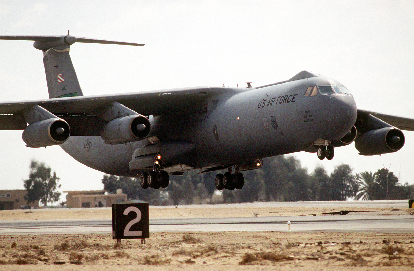 A C-141B aircraft from the 62nd Air Wing McChord Air Force Base, practices take-offs and landings. The training, included joint planning and operations between Egyptian and United States forces