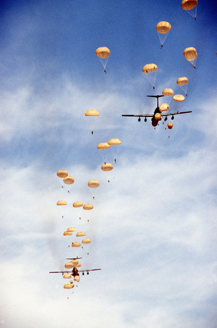Egyptian Troops conduct mass halo jumps from C-141 Starlifter aircraft. For most Egyptian troops, this was their first jump. The main objective of the halo jumps was to improve the ability to rapidly reinforce deployed Egyptian forces