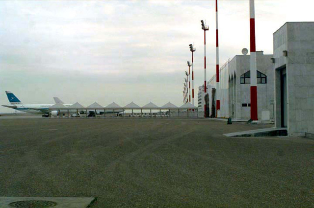 View at the northeast end of the Eastern Apron looking south. The Emir of Kuwait Jabar al Sabah's Palace at Kuwait Air Force Base, which is the distinguished visitor's palace, for incoming royalty is on the right.SCREEN RESOLUTION ONLY