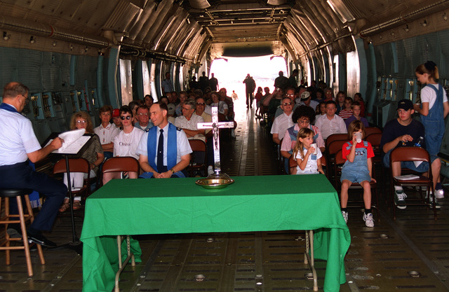 The chapel staff holds a Protestant worship service in a visiting C-5 during Big Country Appreciation Day