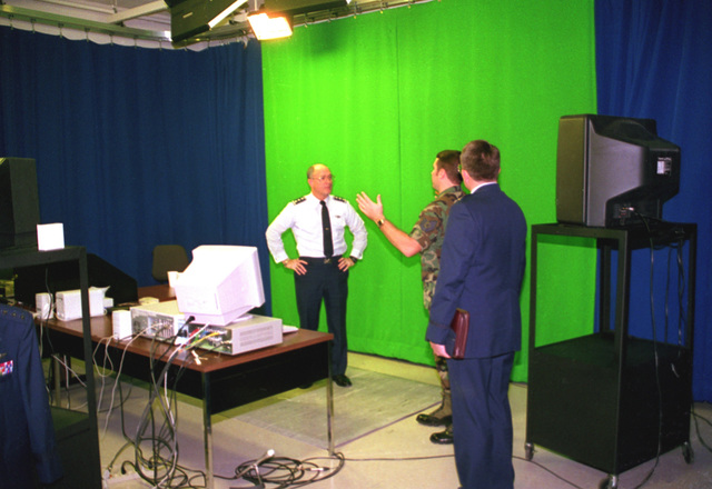 Air Force Surgeon General Roadman, TECH. SGT. Dubski and CAPT. Franklin in interactive TV studio