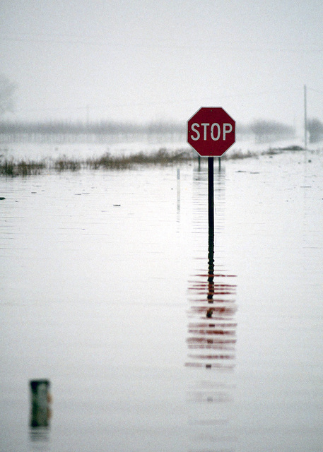 A Stop sign in the small Northern California town of Meridian stands as a sign of the rising Sacramento River flood waters. Fort Bragg, Beale Air Force Base and the Federal Emergency Management Agency (FEMA) provided sand bag working party personnel in an attempt to save the town from the rising flood waters