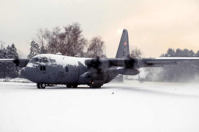A 40th Airlift Squadron (AS) C-130H starts engines on the snow covered flight line at this United States Air Force Europe (USAFE) base. The 40th AS is assigned to the 7th Wing, Dyess Air Force Base, Texas and is deployed to Ramstein to support Operations Joint Endeavor and Joint Guard from 4 Dec. 1996 to 23 Jan. 1997. Exact Date Shot Unknown