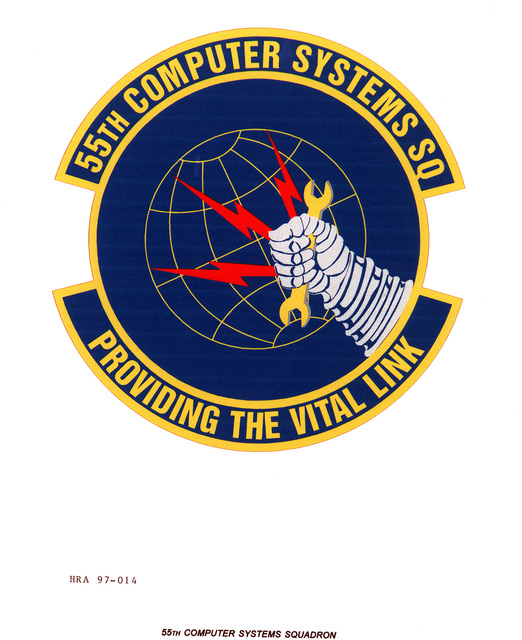 Air Force Organizational Emblem: 55th Computer Systems Squadron, Air Combat Command Exact Date Shot Unknown