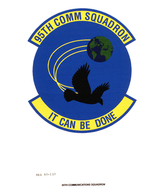 Air Force Organizational Emblem: 95th Communications Squadron, Air Force Material Command Exact Date Shot Unknown