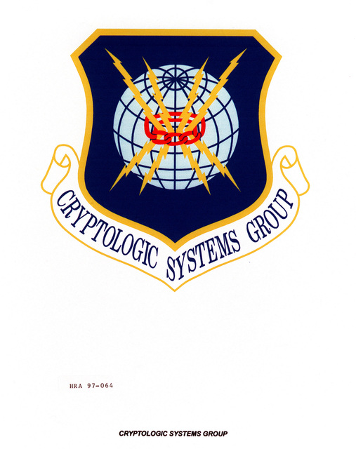 Air Force Organizational Emblem: Cryptologic Systems Group, Air Force Material Command Exact Date Shot Unknown