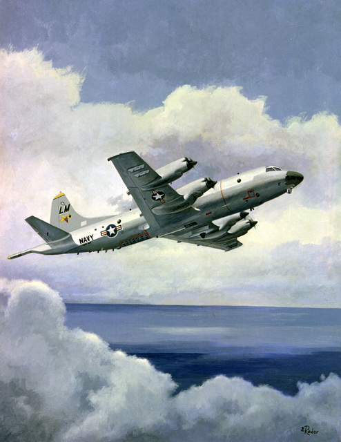 Official painting of a P-3C Orion anti-submarine warfare (ASW) aircraft of Patrol Squadron Forty-four (VP-44), the Golden Pelicans, in flight over the Atlantic Ocean