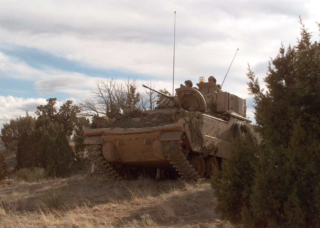 Parked among the pinon pine and scrub oak trees of one of the many training sites, a Bradley Fighting Vehicle crew from the 3rd Armored Cavalry Regiment (ACR) wait in the late afternoon sun for orders to move out