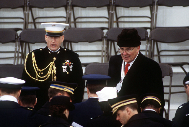 Social aides receive their final briefing from John Campbell (R.), member of the Joint Congressional Committee on Inaugural Ceremonies, before the 1997 Presidential Inaugural Swearing-in Ceremony