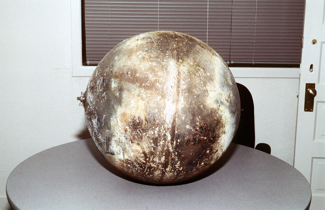 Space debris sphere that was found near Seguin, Texas and brought to Randolph Air Force Base where it was identified as a piece of a Delta rocket that had been launched from Vandenberg Air Force Base, Calif., in April 1996
